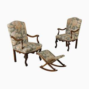 Antike Armlehnstühle mit Fußhocker, 2er Set