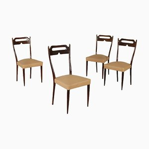 Italian Beech & Leatherette Chairs, 1950s, Set of 4