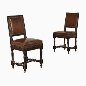 Italienische Stühle aus Nussholz, frühes 19. Jh., 2er Set