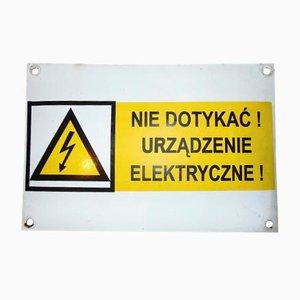 Señal de advertencia industrial vintage esmaltada, años 70