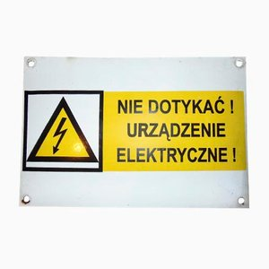 Vintage Industrial Enamel Warning Sign, 1970s
