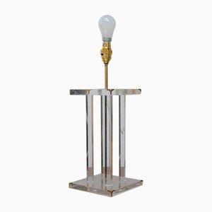 Mid-Century Tischlampe aus Plexiglas & Messing