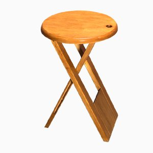 French Wooden Folding Stool by Roger Tallon for Sentou, 1970s