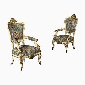 Vergoldete antike Armlehnstühle von Louis Philippe, 2er Set