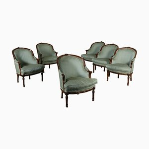 Italian Beech Armchairs, 1900s, Set of 6
