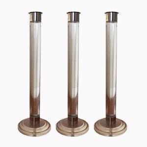 Kerzenständer aus Plexiglas & Metall, 1970er, 3er Set