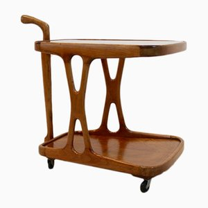Italian Walnut Bar Cart with Star-Etched Glass by Cesare Lacca, 1950s