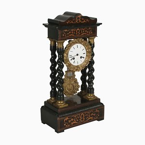 19th Century French Portico Clock with Inlays