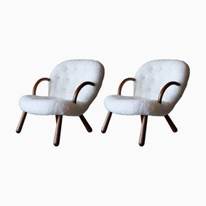 Clam Chairs by Philip Arctander for Nordisk Stål & Møbel Central, 1940s, Set of 2