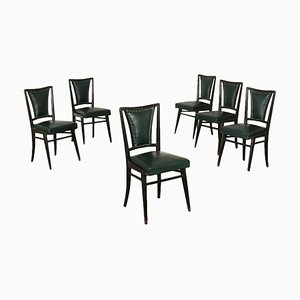 Italian Wood Stained Ebony & Leatherette Chairs, 1950s, Set of 6