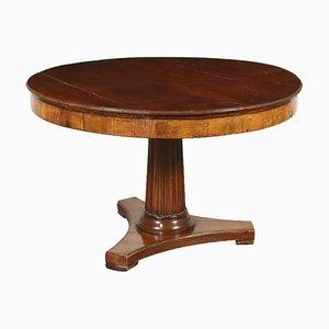 Tavolo rotondo antico in legno di noce, Italia, inizio XX secolo