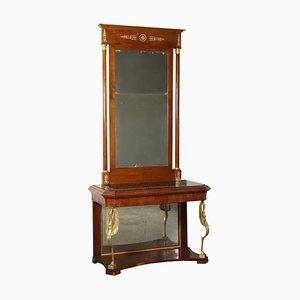 Consola italiana estilo Charles X de cerezo con espejo, década del 1800