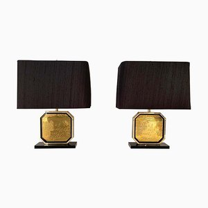 24-Karat Gilded Maho Table Lamps by Georges Mathias, 1970s, Set of 2