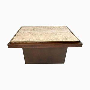 Table Basse en Cuivre, Laiton et Travertin de Belgo Chrom, 1970s