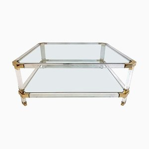 Large Italian Lucite & Brass Square Coffee Table, 1970s