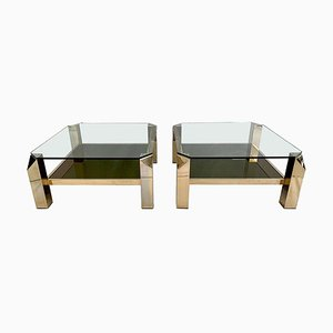 23-Karat Gold-Plated 2-Tier Coffee Tables from Belgo Chrom, 1970s, Set of 2