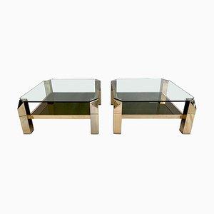 Mesas de centro bañadas en oro de 23 quilates con dos niveles de Belgo Chrom, años 70. Juego de 2