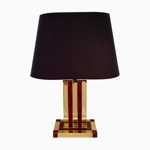 Brass & Tortoise Shell Resin Table Lamps by Willy Rizzo for Lumica, 1970s