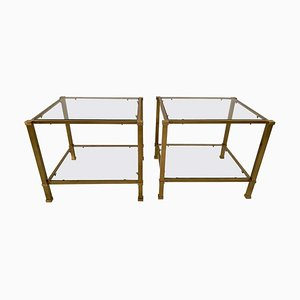 Vintage Two-Tier Brass & Glass End Tables, Set of 2