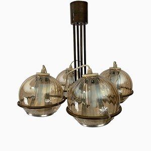 Lámpara de araña vintage de latón, vidrio y aluminio de Frank Ligtelijn para Raak