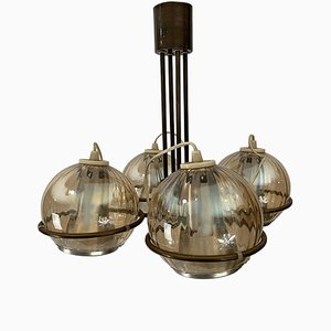 Vintage Brass, Glass & Aluminium Chandelier by Frank Ligtelijn for Raak
