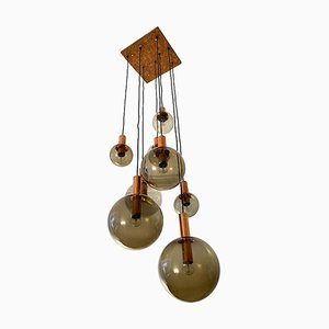 Smoked Glass Globe Ceiling Light from Raak, 1970s