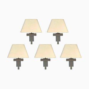 Lámparas de pared vintage de metal cromado, años 70. Juego de 2