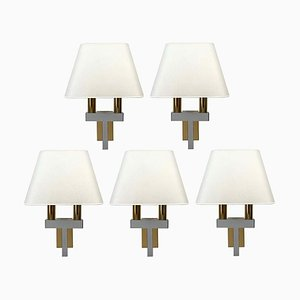 Vintage Wandlampen aus Chrom & Messing, 1970er, 2er Set