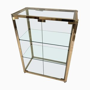 Vitrina vintage de latón y vidrio