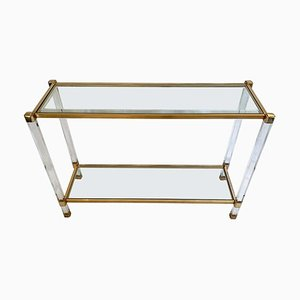 Vintage Two-Tier Lucite & Brass Console Table