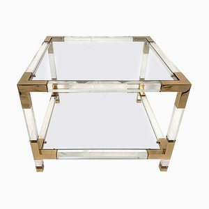 Square Lucite & Brass End Table, 1970s