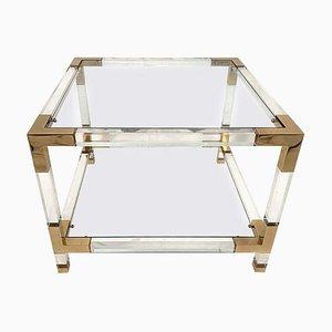 Tavolino quadrato in ottone e lucite, anni '70