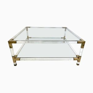 Large Square Lucite & Brass Coffee Table, 1970s