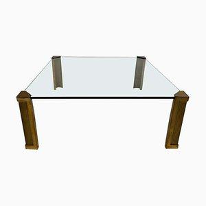 Table Basse T14 en Laiton et Verre par Peter Ghyczy, 1970s
