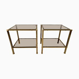 Vintage Two-Tier Brass & Smoked Glass End Tables, Set of 2