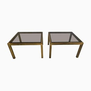 Tables d'Appoint Vintage en Laiton Patiné, Set de 2
