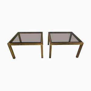 Tables d'Appoint Vintage en Laiton Patiné, Set de 2