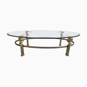 Table Basse Antilope Vintage avec Plateau en Verre