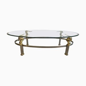 Vintage Antelope Coffee Table with Glass Top