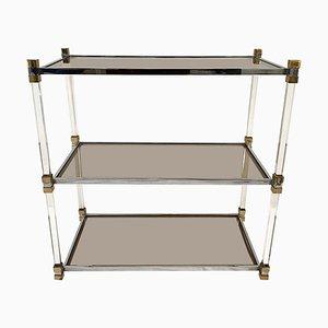 Table Basse à 3 Niveaux Vintage en Chrome, Lucite et Laiton