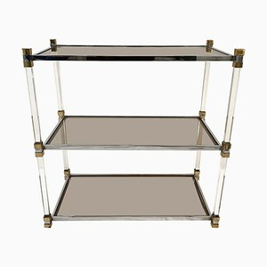Vintage Three-Tier Chrome, Lucite & Brass Coffee Table