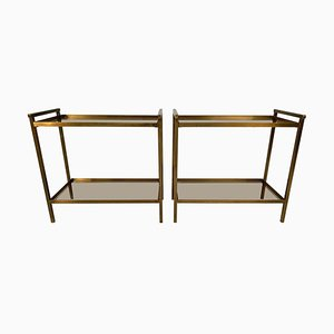 Vintage Rectangular Two-Tier Brass & Smoked Glass End Tables, Set of 2