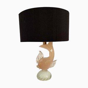 Lámpara con base en forma de pez de cristal de Murano, años 50