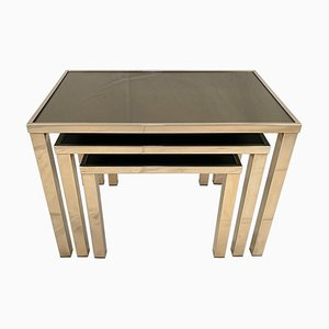 Tables Gigognes Vintage en Or Plaqué 23 Carats de Belgo Chrom