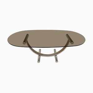 Table Basse Vintage en Chrome, Laiton et Verre par Romeo Rega