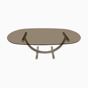 Tavolino da caffè vintage in metallo cromato, ottone e vetro