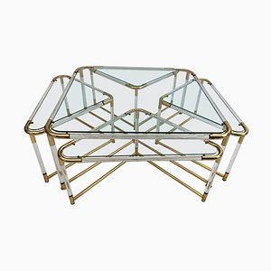 Lucite & Golden Metal Nesting Tables, 1970s