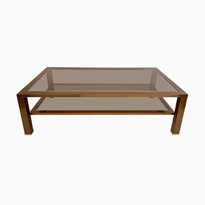 Table Basse à 2 Niveaux en Chrome et Laiton, 1970s