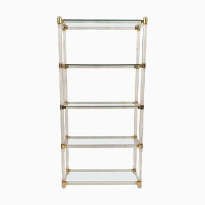 Glass, Brass & Lucite Etagere, 1970s