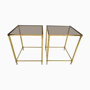 Vintage Brass & Smoked Glass Side Tables, Set of 2